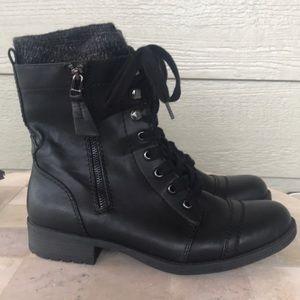 """🦋 Black """"Combat"""" Ankle Lace-Up, Zip-Up Boots"""